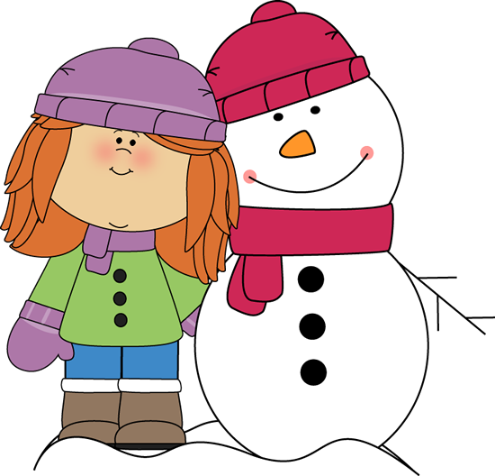 Girl With Arm Around Snowman Clip Art   Girl With Arm Around Snowman