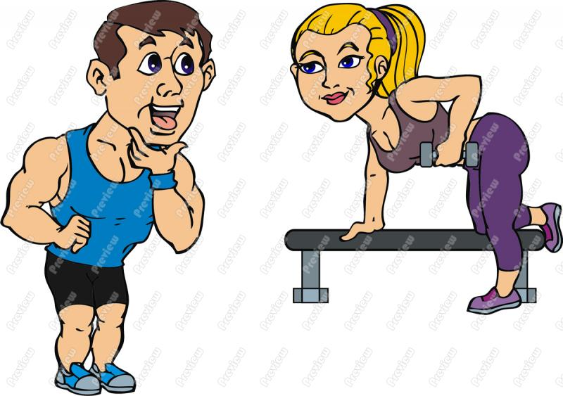 Guy Staring At Fitness Girl Clip Art   Royalty Free Clipart   Vector