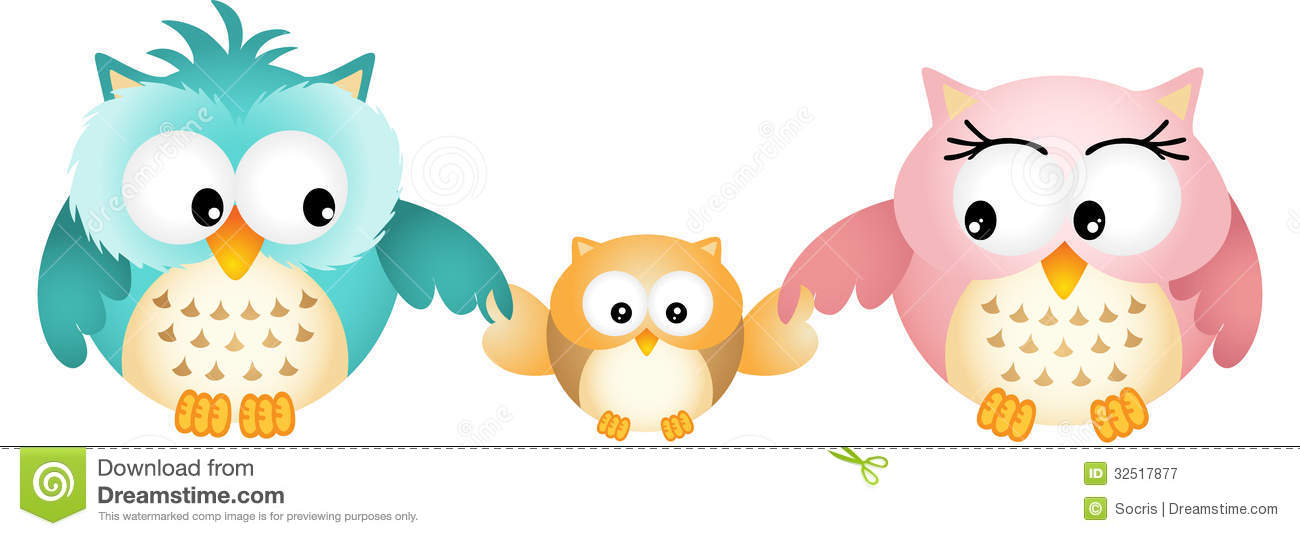 Happy Owl Family Royalty Free Stock Photography   Image  32517877