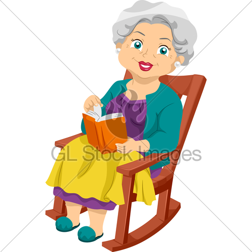 Illustration Featuring An Elderly Woman Sitting
