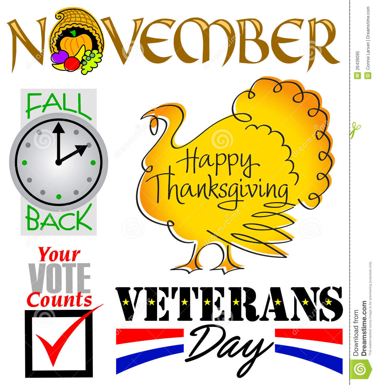November Events Clip Art Set Eps Royalty Free Stock Photo   Image