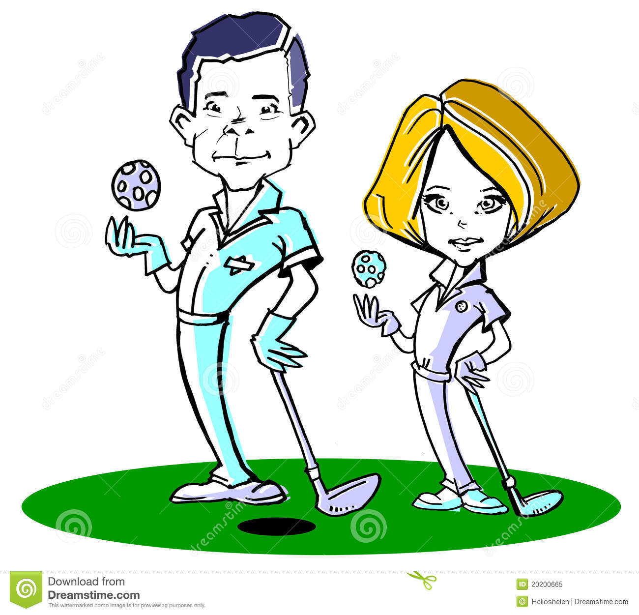 Royalty Free Stock Photo  Caucasian Golfer Couple  Clipart
