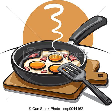 Vector   Fried Eggs With Bacon   Stock Illustration Royalty Free
