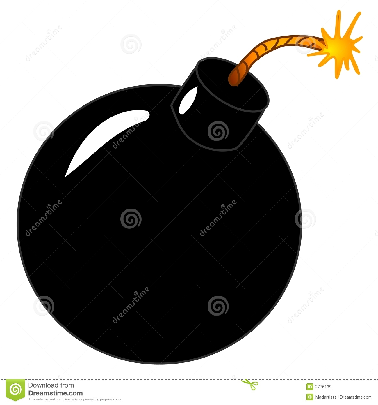 Classic Cartoon Style Black Round Bomb Lit On The End And Ready To