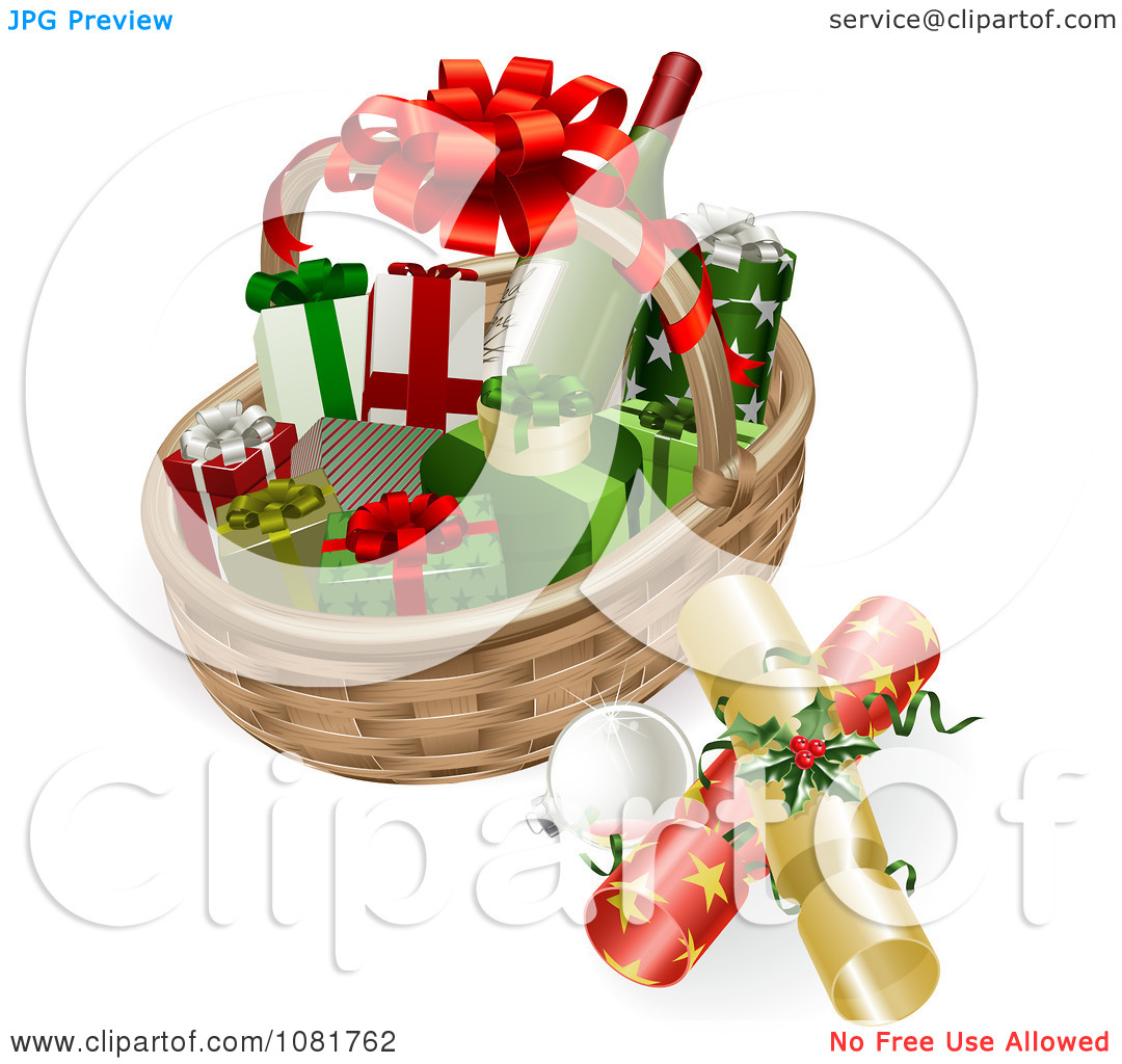 Clip Art Christmas Basket : Wine gift basket clipart kid