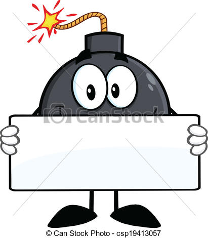 Clipart Vector Of Funny Bomb Holding A Banner   Funny Bomb Cartoon