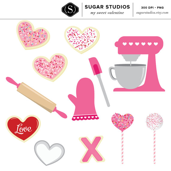 My Sweet Valentine Baking Digital Clip Art   13 Pieces Commercial Use