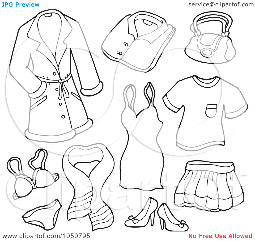 Coloring Pages Clothing: Girls Underwear Clipart