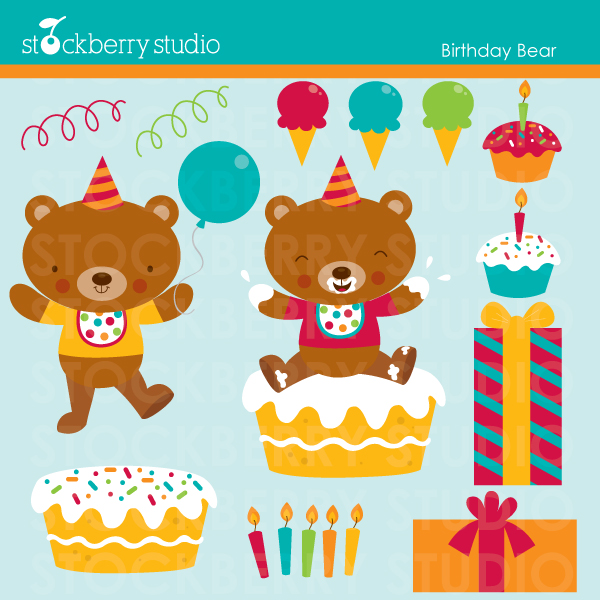 Sweet Birthday Bear Clipart Set  13 Clipart Designs