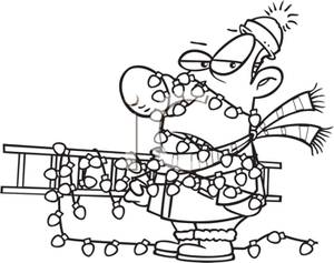 Black And White Cartoon Of A Man Entangled In A String Of Lights