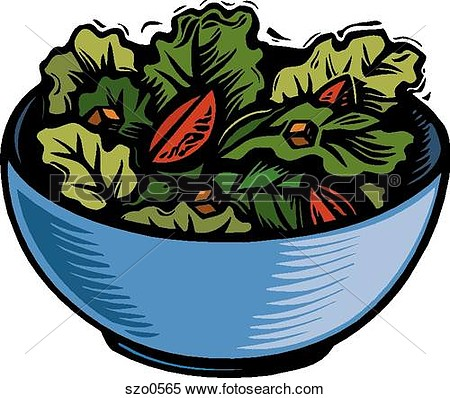 Bowl Of Green Salad Leaves  Fotosearch   Search Clipart