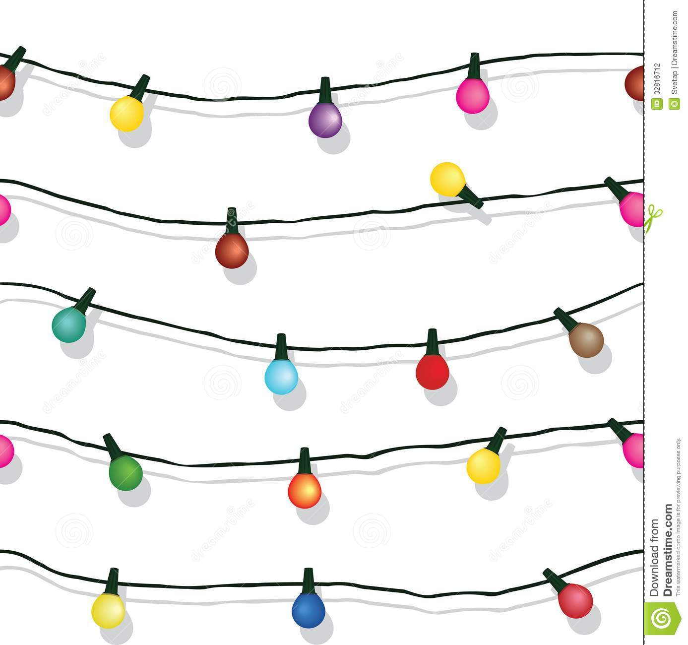Christmas Lights String Clipart Black And White