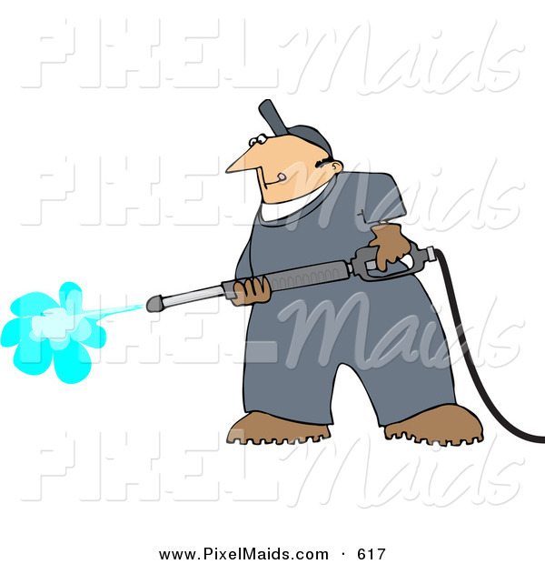 Clipart Of A Pressure Washer Man Cleaning Something By Djart    617