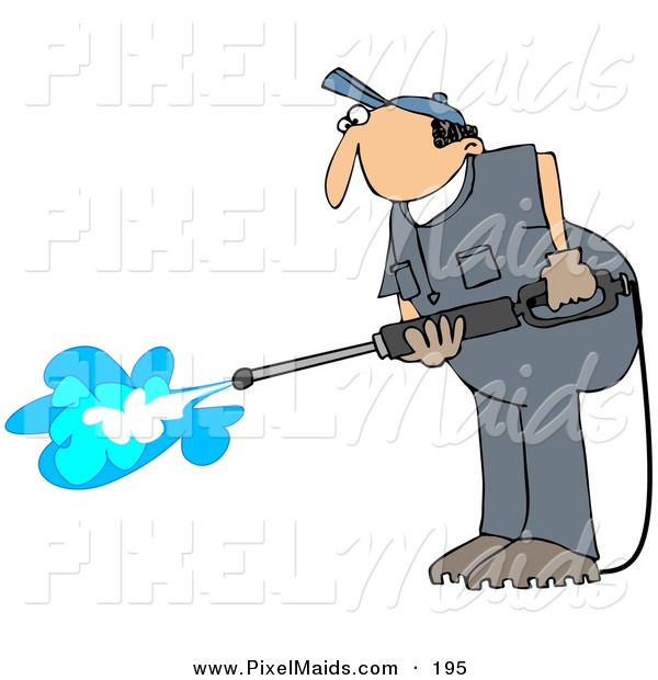 Clipart Of A Pressure Washer Man In A Blue Uniform Cleaning The Floor
