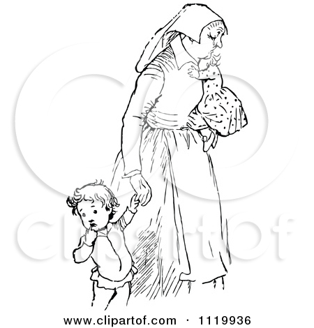 Clipart Of A Retro Vintage Black And White Tired Mother With Children