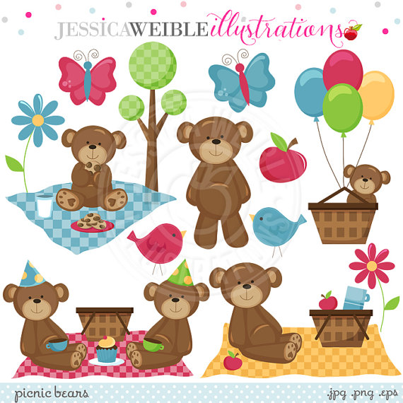 Cute Digital Clipart   Commercial Use Ok   Bear Picnic Clipart Picnic