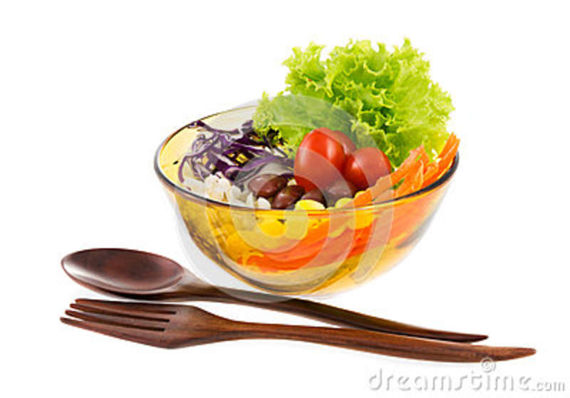 Delicious Salad On A Bowl With Wooden Spoon And Fork Isolated O Stock