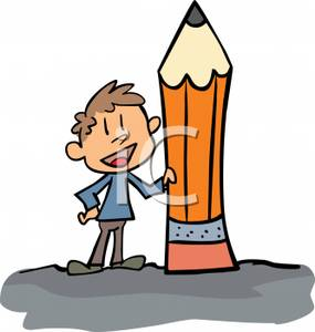 External Image A Small Boy Holding A Giant Pencil Royalty Free Clipart