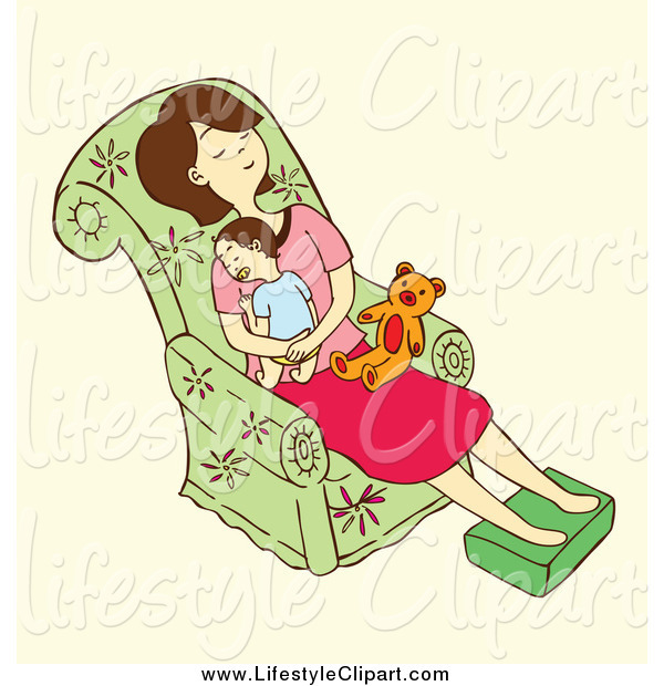 Lifestyle Clipart Of A Tired Mom Napping With Her Baby On A Chair By
