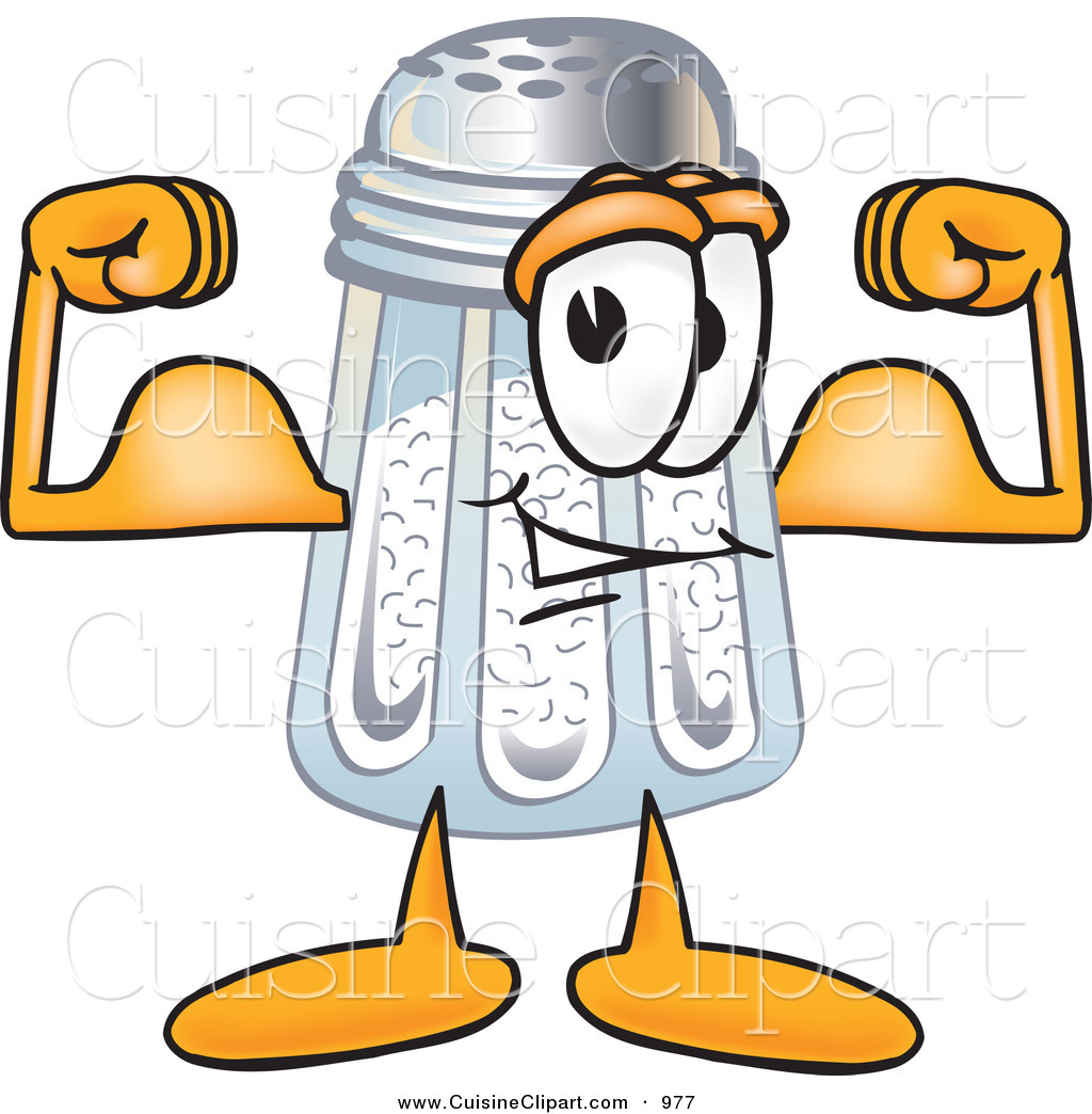 Muscular Strong Salt Shaker Mascot Cartoon Character Flexing His Arm