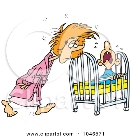 Of A Cartoon Tired Mother Tending To Her Baby By Ron Leishman  1046571