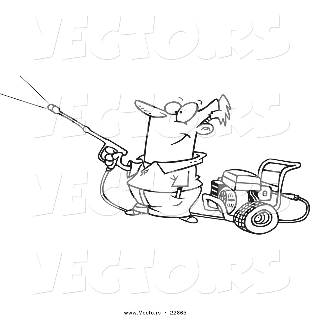 Pressure Washing Clip Art Vector Of A Cartoon Guy Using A Pressure