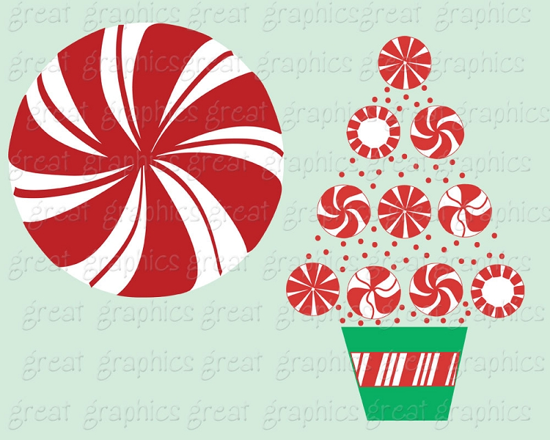 Printable Christmas Peppermint Candy Clip Art