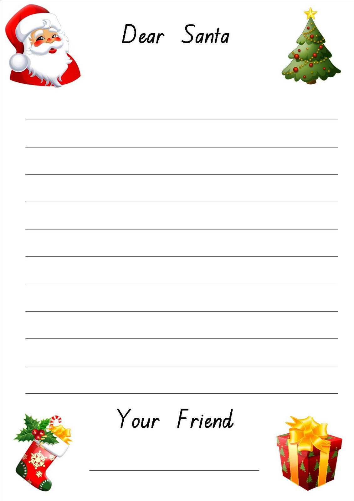 Printable Letter To Santa Writing Paper