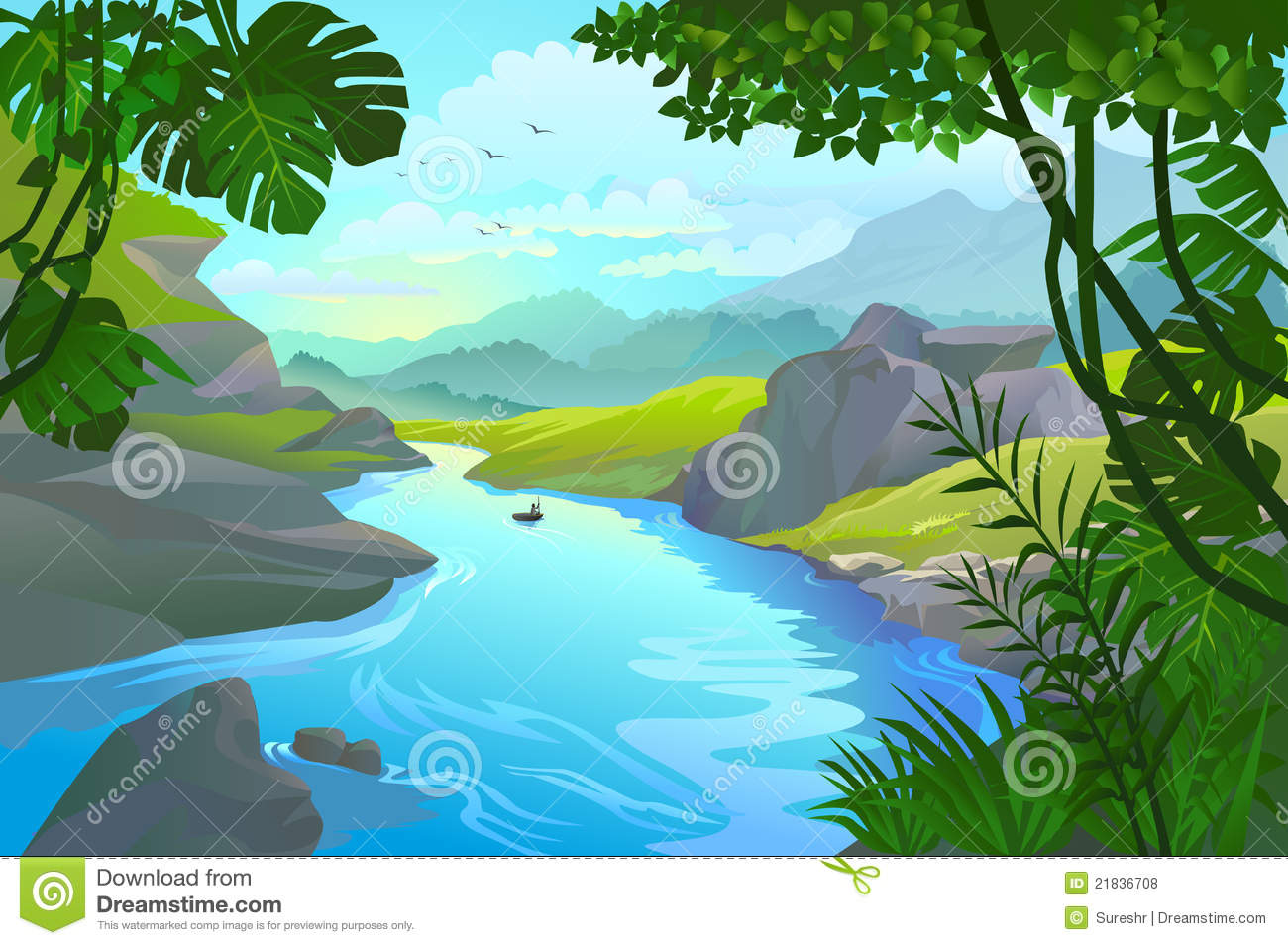 Mountain River Clipart - Clipart Kid