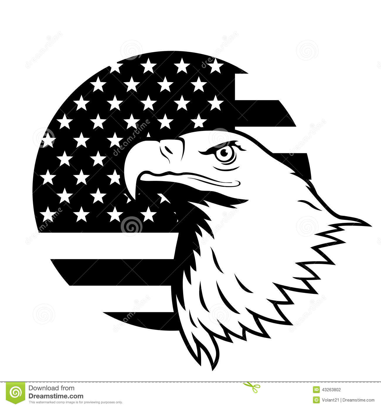 Stylized Illustration Of Bald Eagle Head Against Usa Flag Background