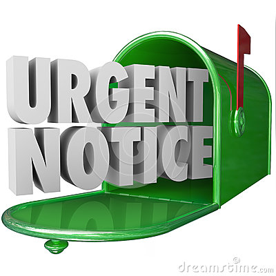 Urgent Notice Mail Critical Important Information Message Mailbo Stock