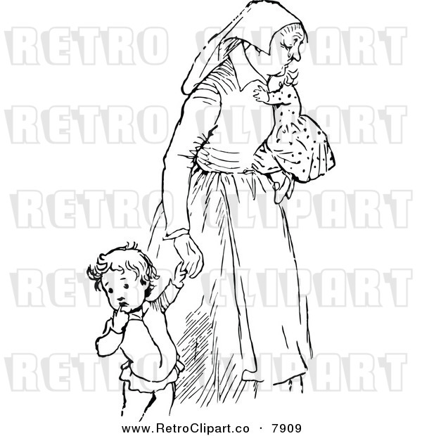 Vector Clipart Of A Retro Black And White Tired Mother With Children