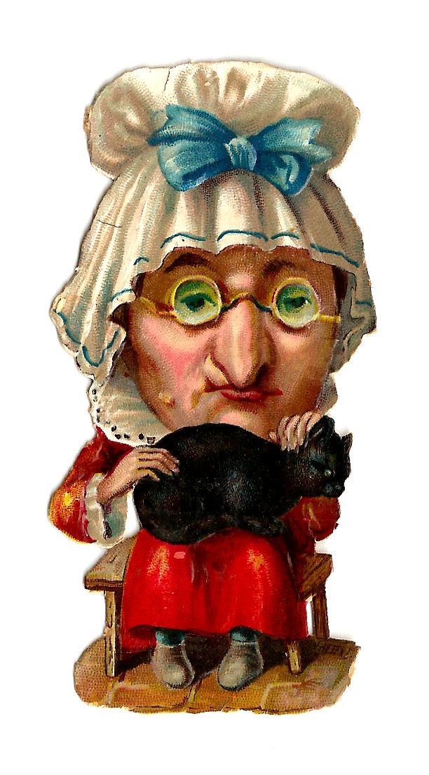 Victorian Clip Art  Victorian Die Cut Of Old Woman And Black Cat