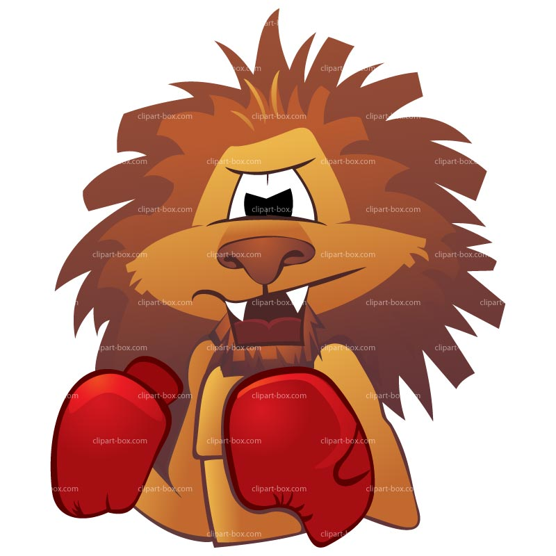 Clipart Boxing Lion   Royalty Free Vector Design