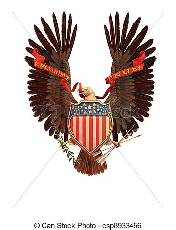 Stock Illustration Of Usa Eagle Symbol   Eagle Holding A Red White