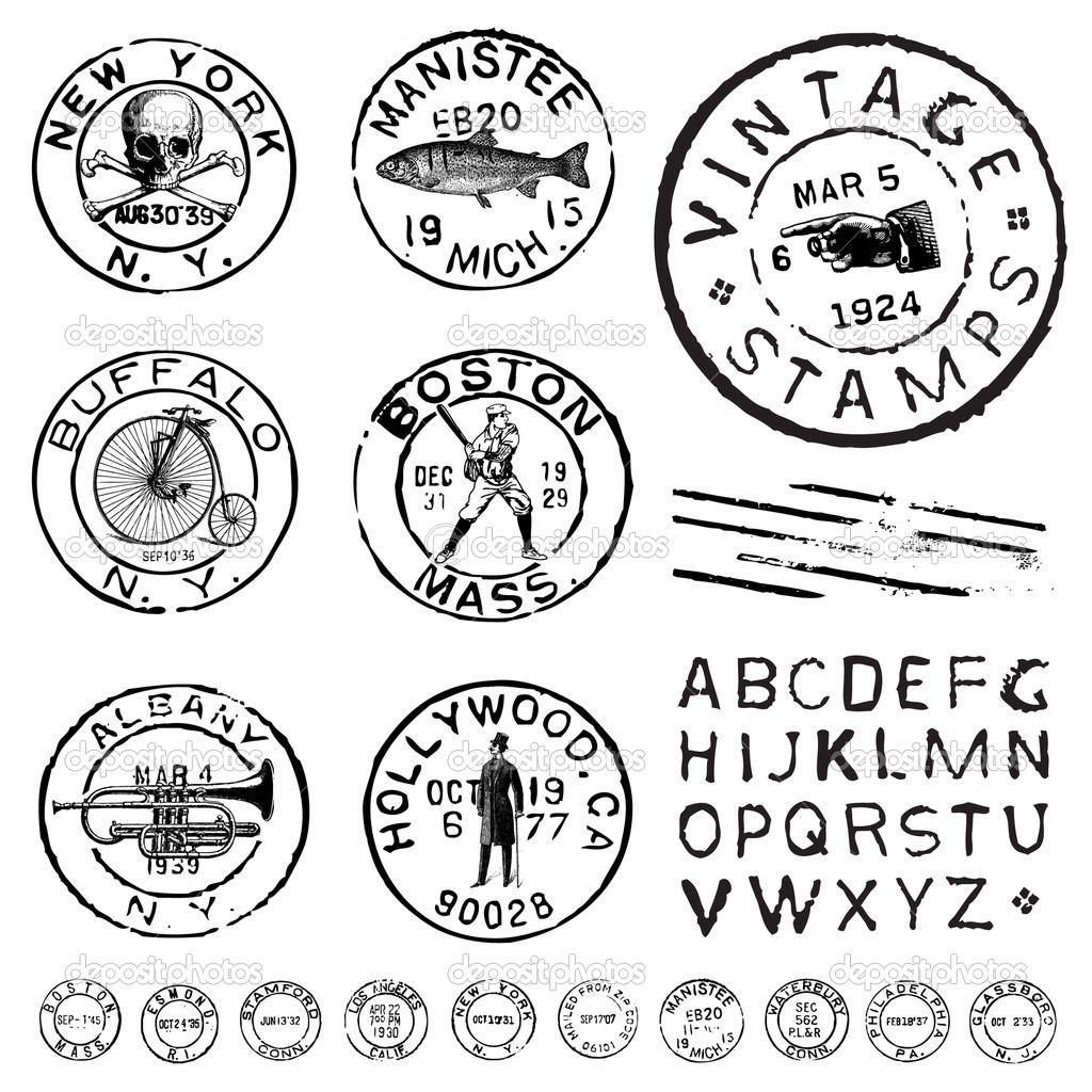 Vector Clipart Vintage Stamp And Label Set   Stock Vector