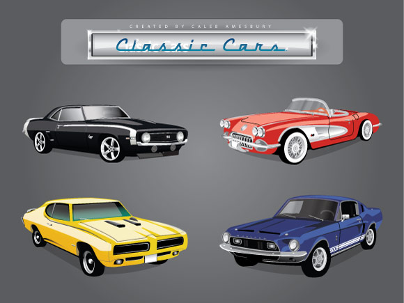 Classic American Cars  3 Muscle Car Vector Files And 1 Classic Car