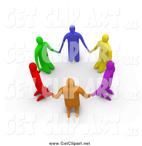 Clip Art Of 3d Colorful Kneeling People In A Circle By 3pod    811