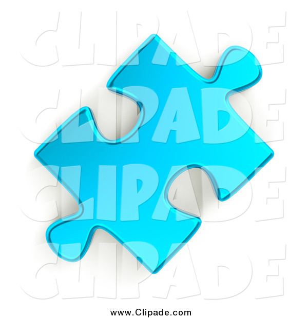 Clip Art Of A 3d Metallic Blue Puzzle Piece By Shazamimages    630