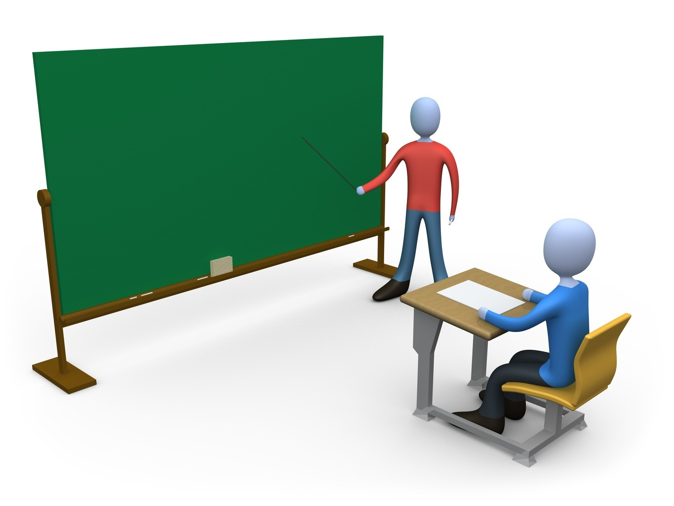 Education Computer Generated Clipart Graphic Picture Of A Blue Teacher