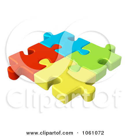 Free Cgi Clip Art Illustration Of 3d Connected Colorful Jigsaw Puzzle