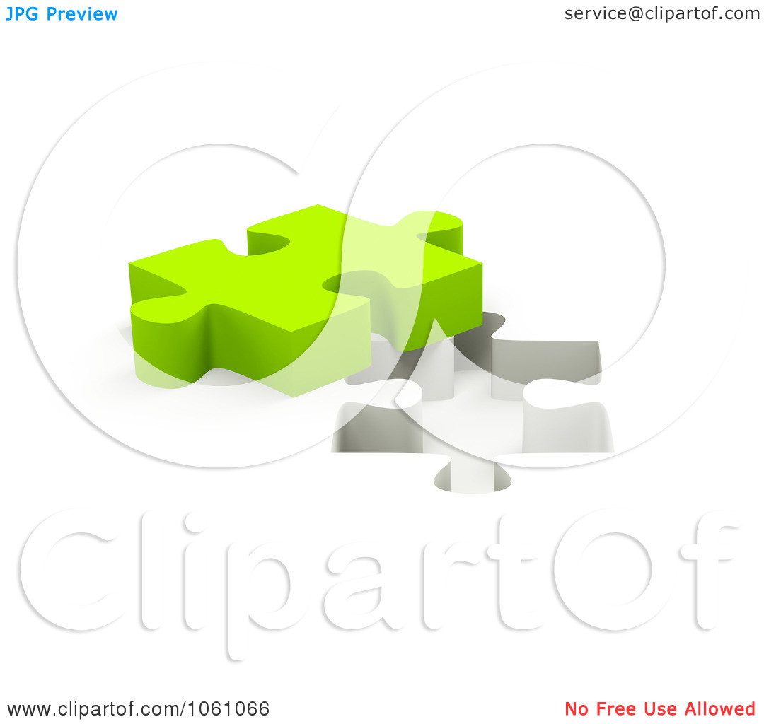 Free Cgi Clip Art Illustration Of A 3d Lime Green Jigsaw Puzzle
