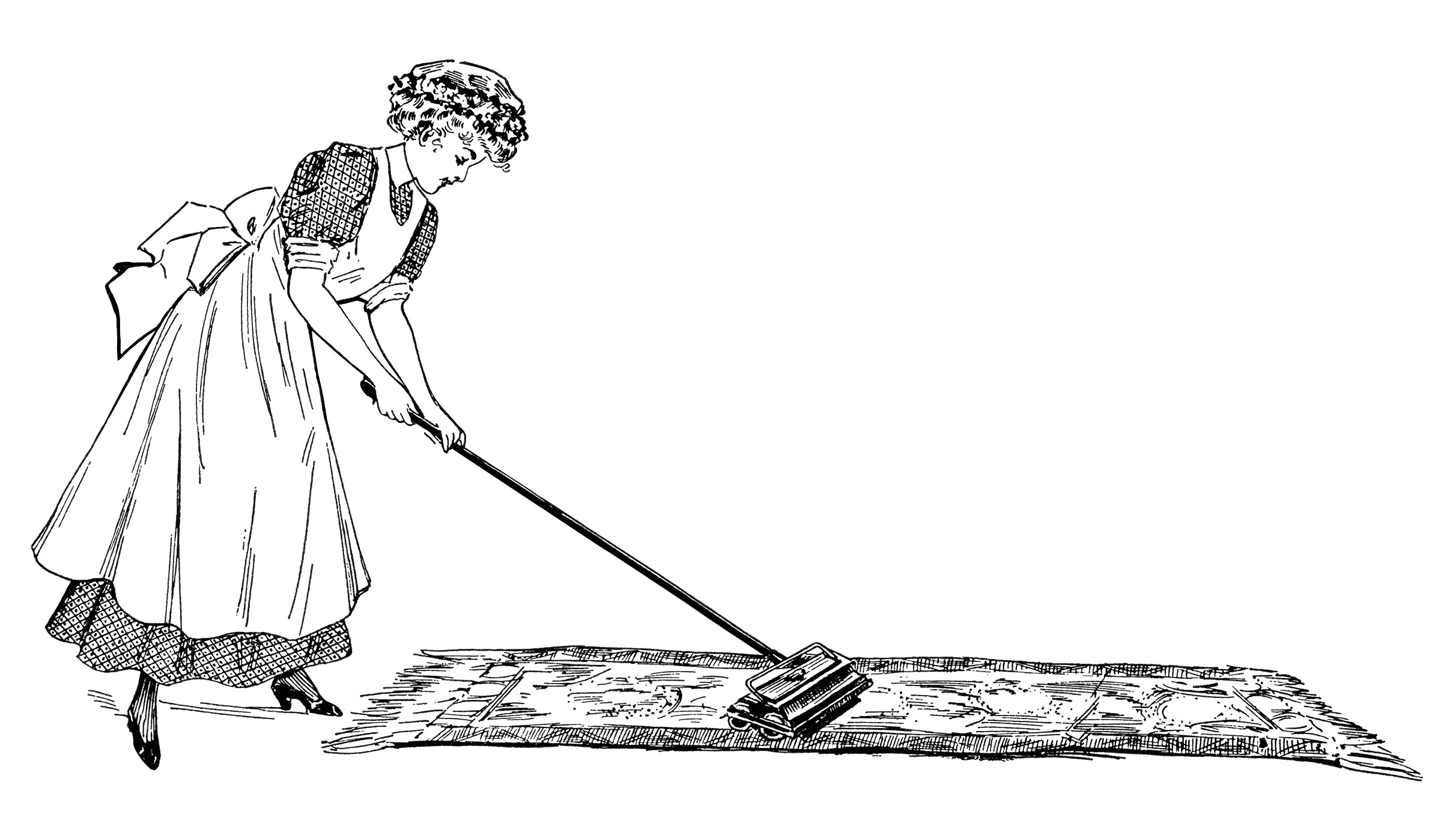 Illustration Black And White Clipart Ladies Cleaning House Printable