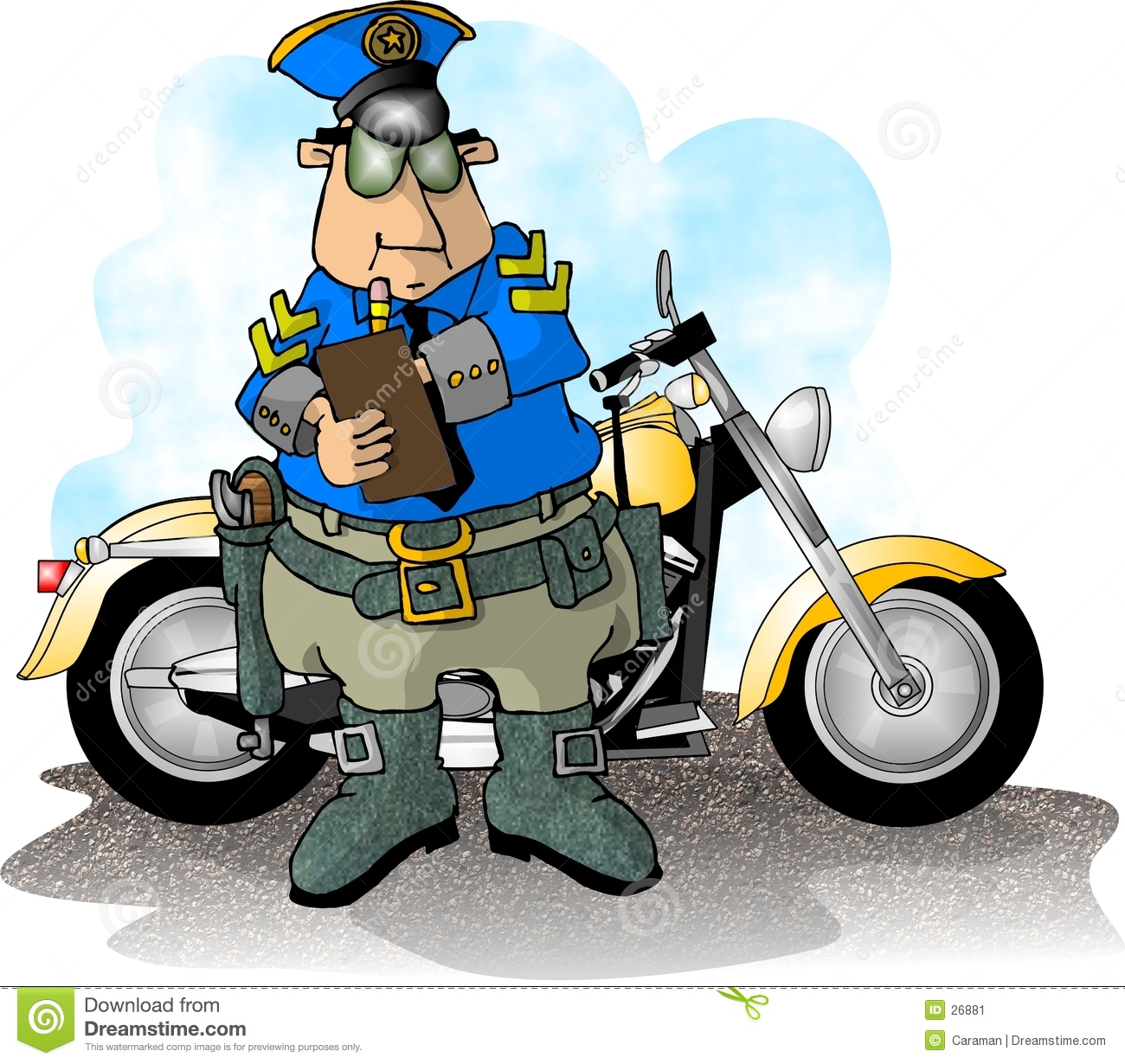 Illustration That Depicts A Policeman Standing In Front Of His Service