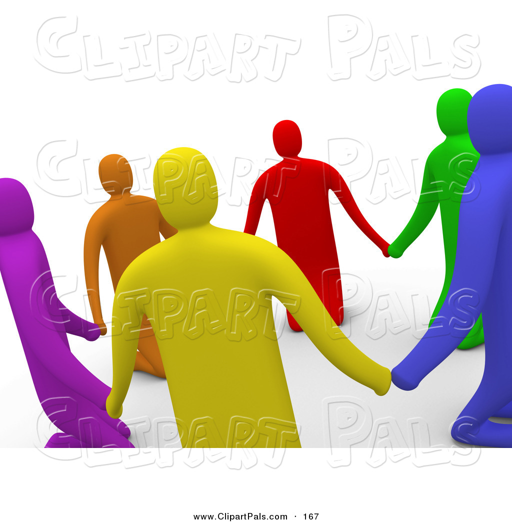 Larger Preview  Pal Clipart Of A 3d Ring Of Colorful People Praying