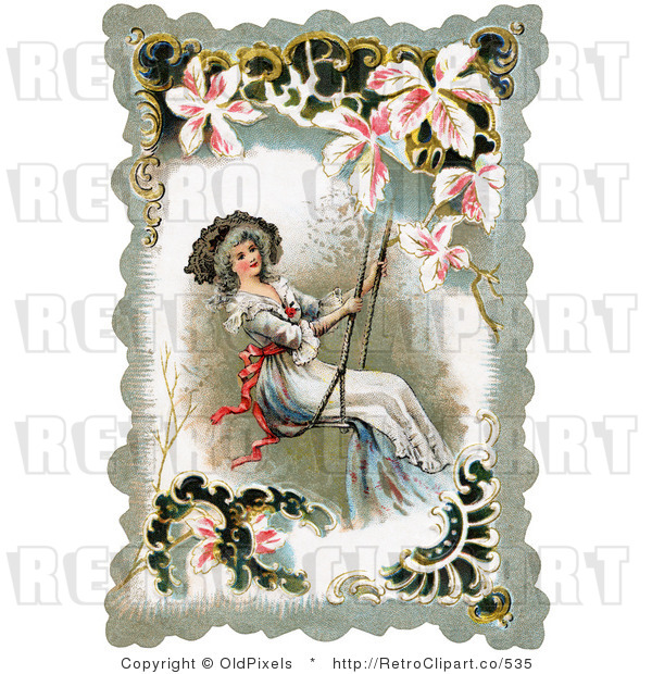 Retro Vintage Victorian Lady Swinging Circa 1880 Royalty Free Clipart