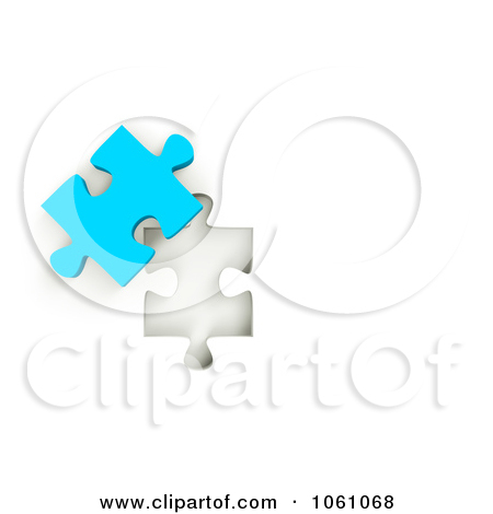 Royalty Free Cgi Clip Art Illustration Of A 3d Blue Jigsaw Puzzle