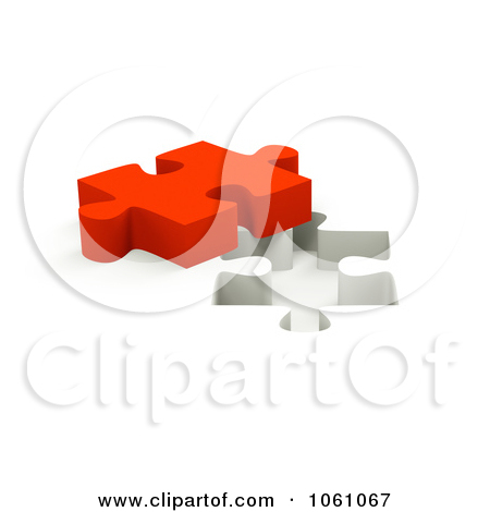 Royalty Free Cgi Clip Art Illustration Of A 3d Red Jigsaw Puzzle Piece