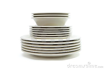 Stack Of Plain Beige Dinner Plates Soup Plates And Saucers Isolated