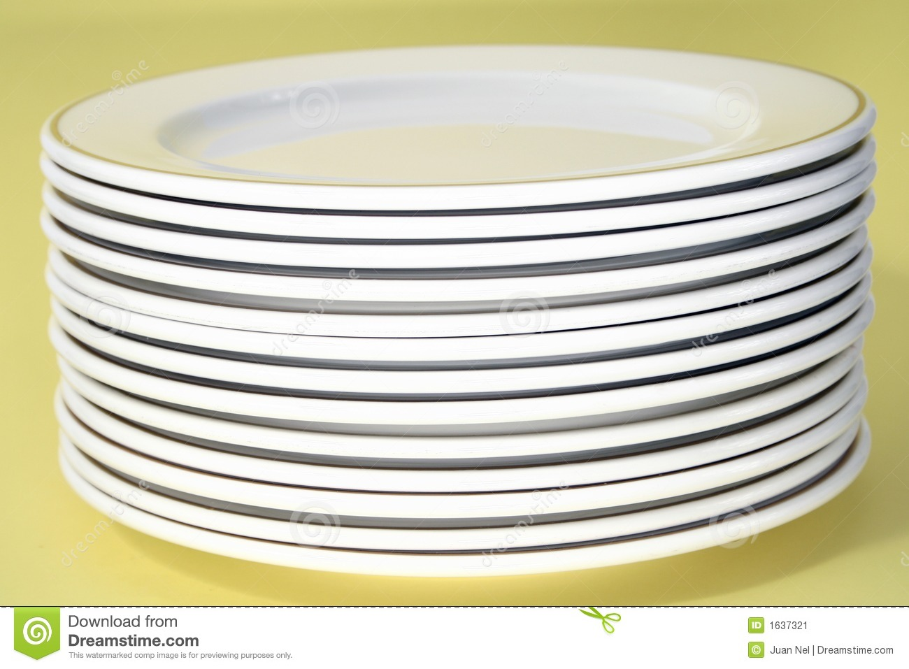 Stack Of Plates With Gold Rim